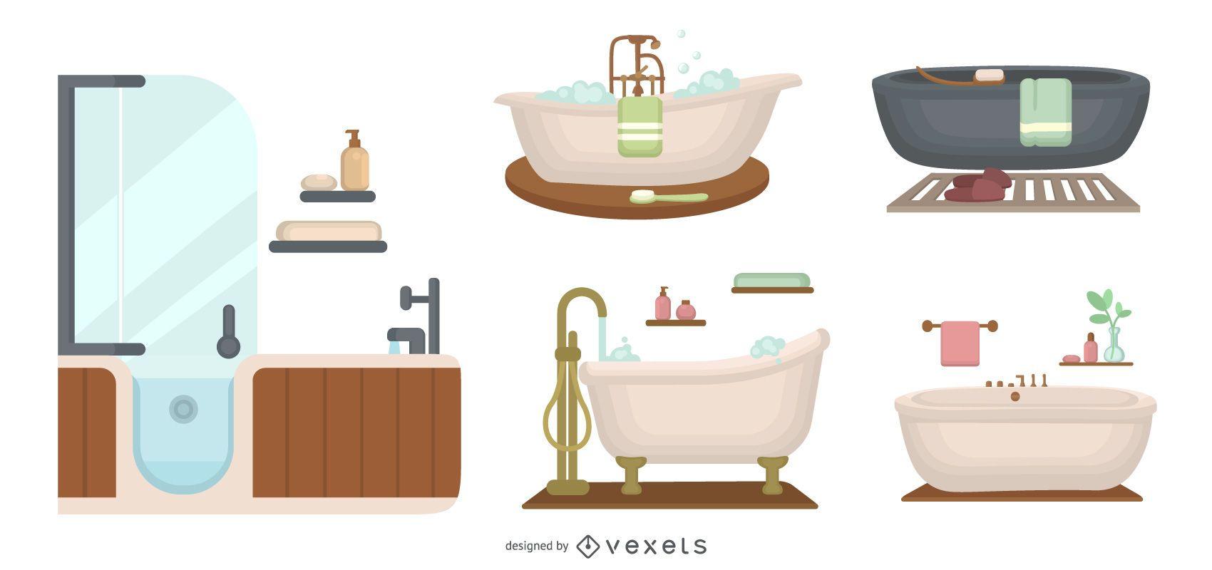 Bathtub flat set
