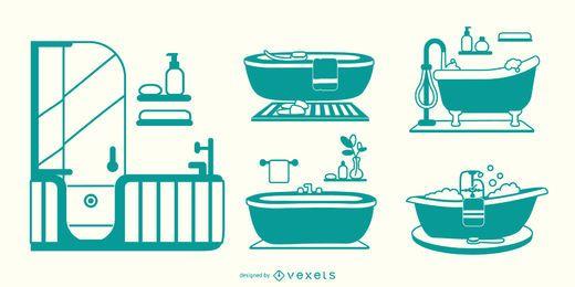 Set de bañera plano verde
