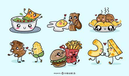 Pacote de comida kawaii para namorados