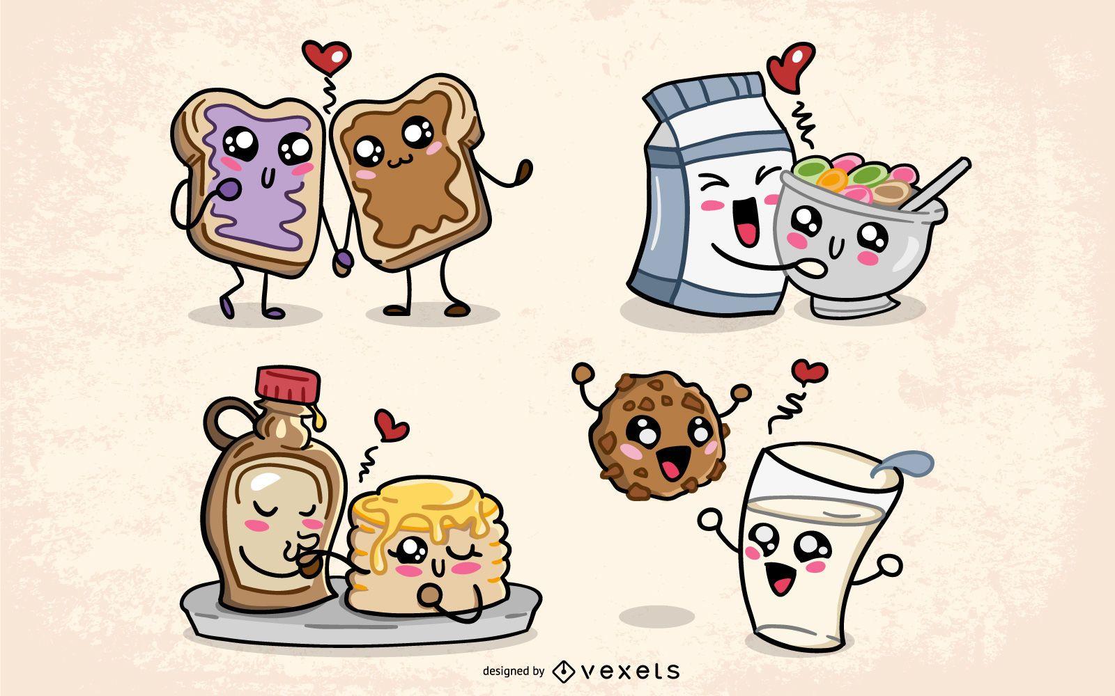 Valentines kawaii food set