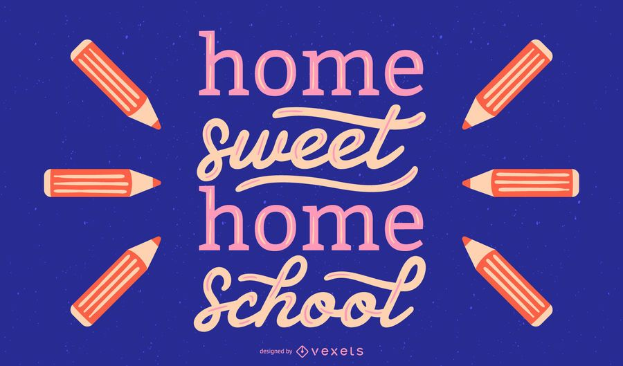 School sweet home lettering design