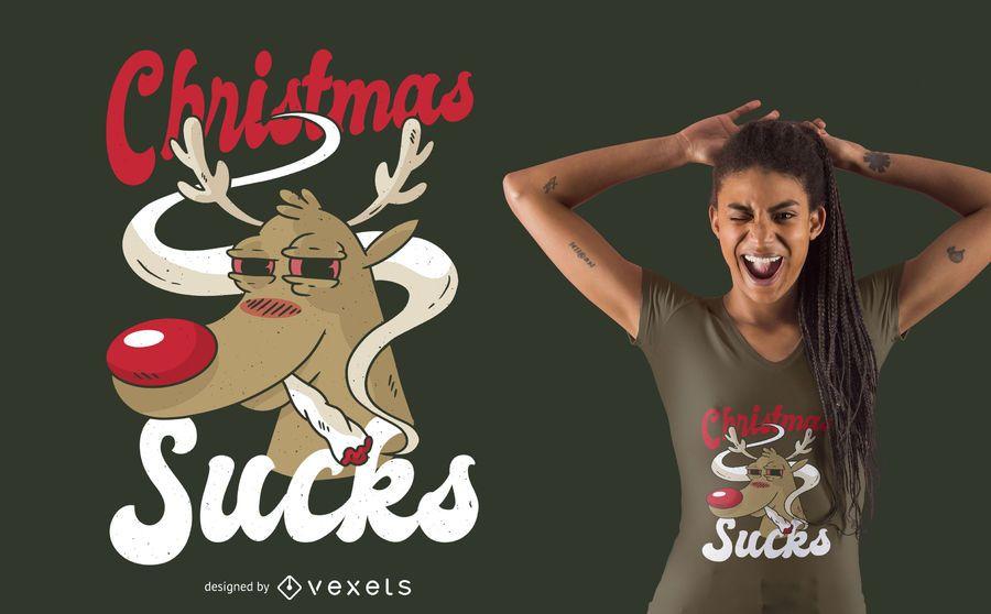 Diseño de camiseta de Navidad fumando renos