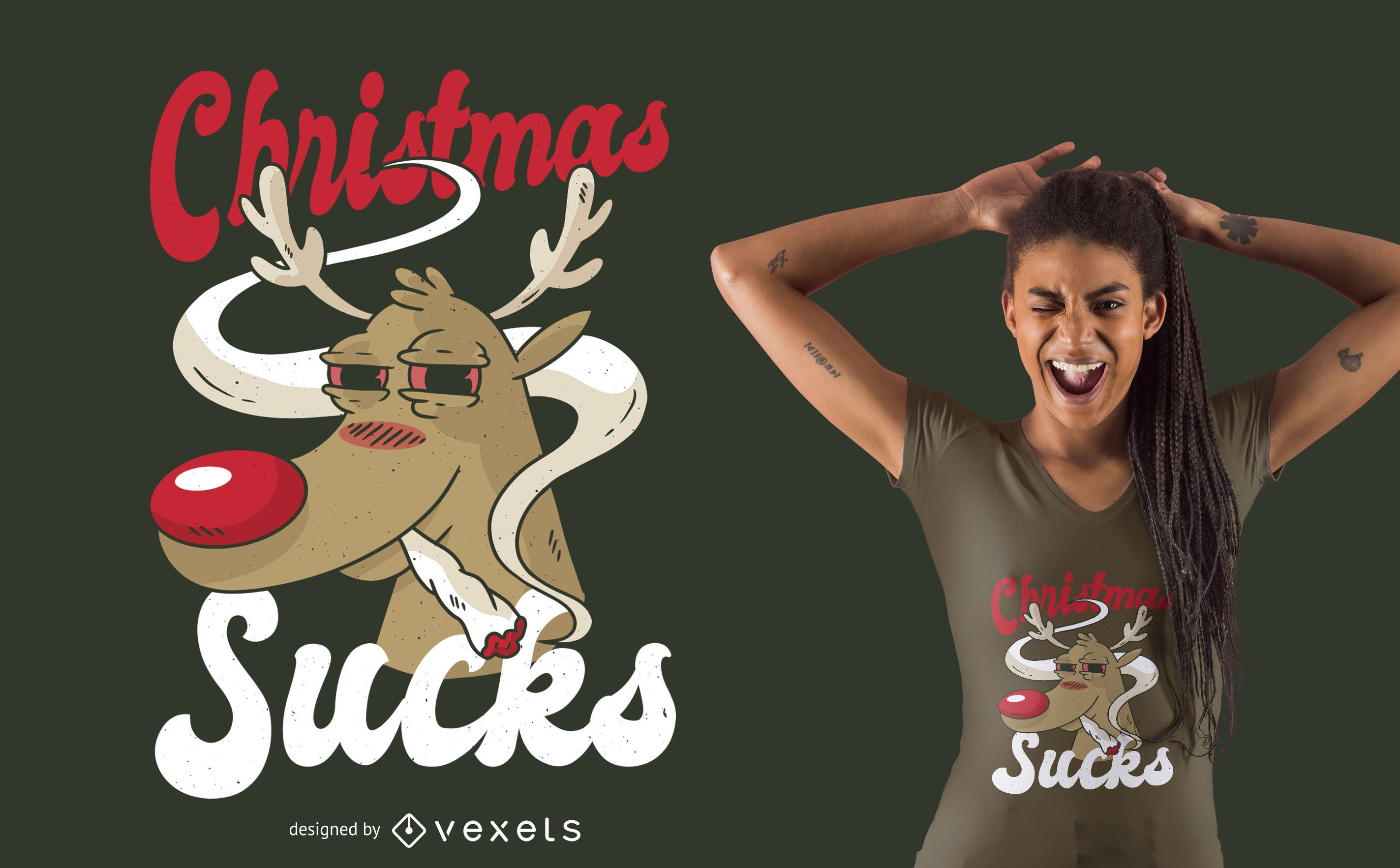 Dise?o de camiseta de Navidad fumando renos