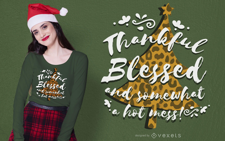 Animal Print Christmas Tree T-shirt Design