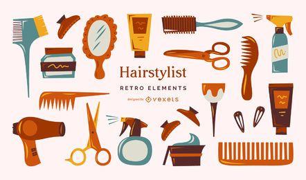 Coleção de elementos retrô de cabeleireiro