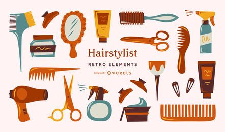 Hairdresser retro elements collection