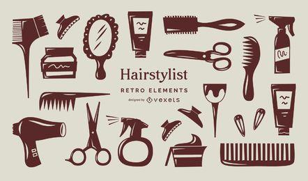 Coleção de elementos retrô de estilista de cabelo