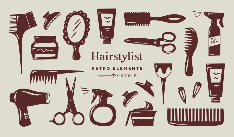Hair stylist retro elements collection