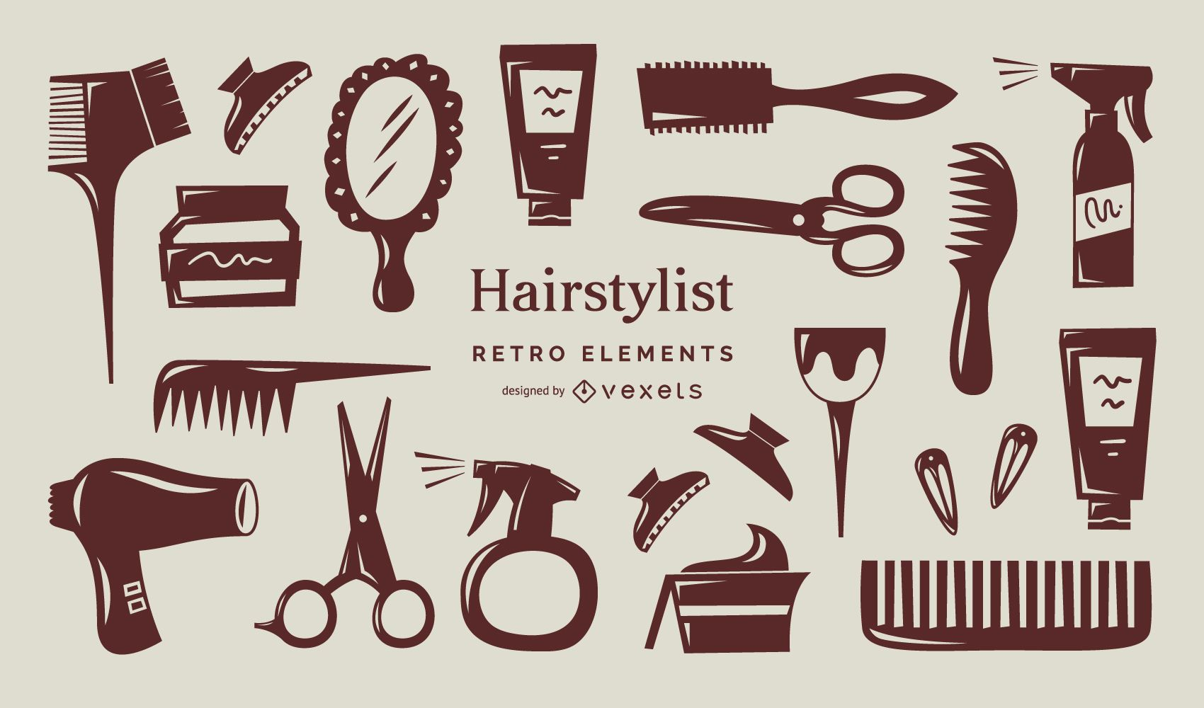 Colección de elementos retro de estilista