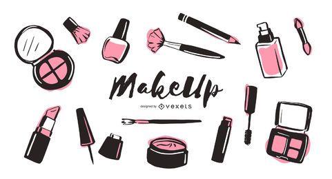 Pacote de ilustração de elementos de maquiagem