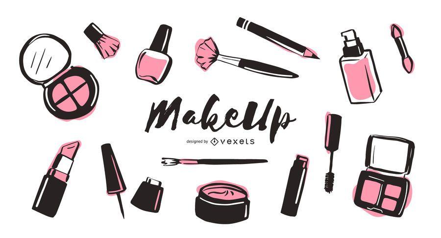Makeup elements illustration pack