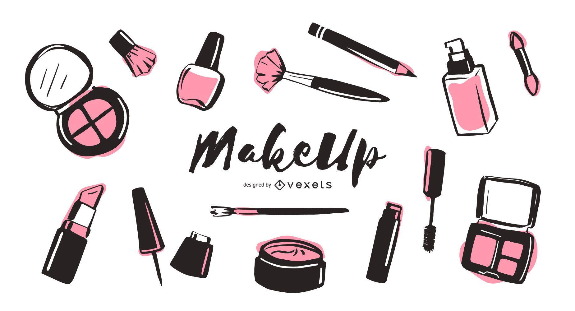 Paquete de ilustración de elementos de maquillaje