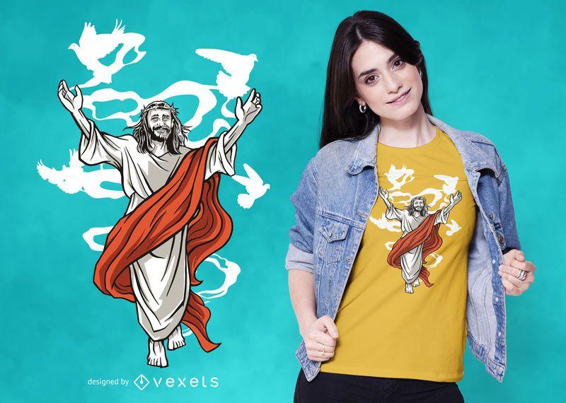 Diseño de camiseta happy jesus