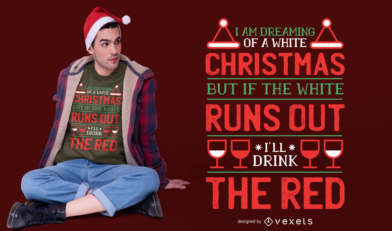 Diseño de camiseta de cita navideña de vino.