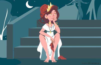 Projeto da ilustração da princesa da fantasia