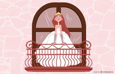 Princesa noiva na ilustração da varanda