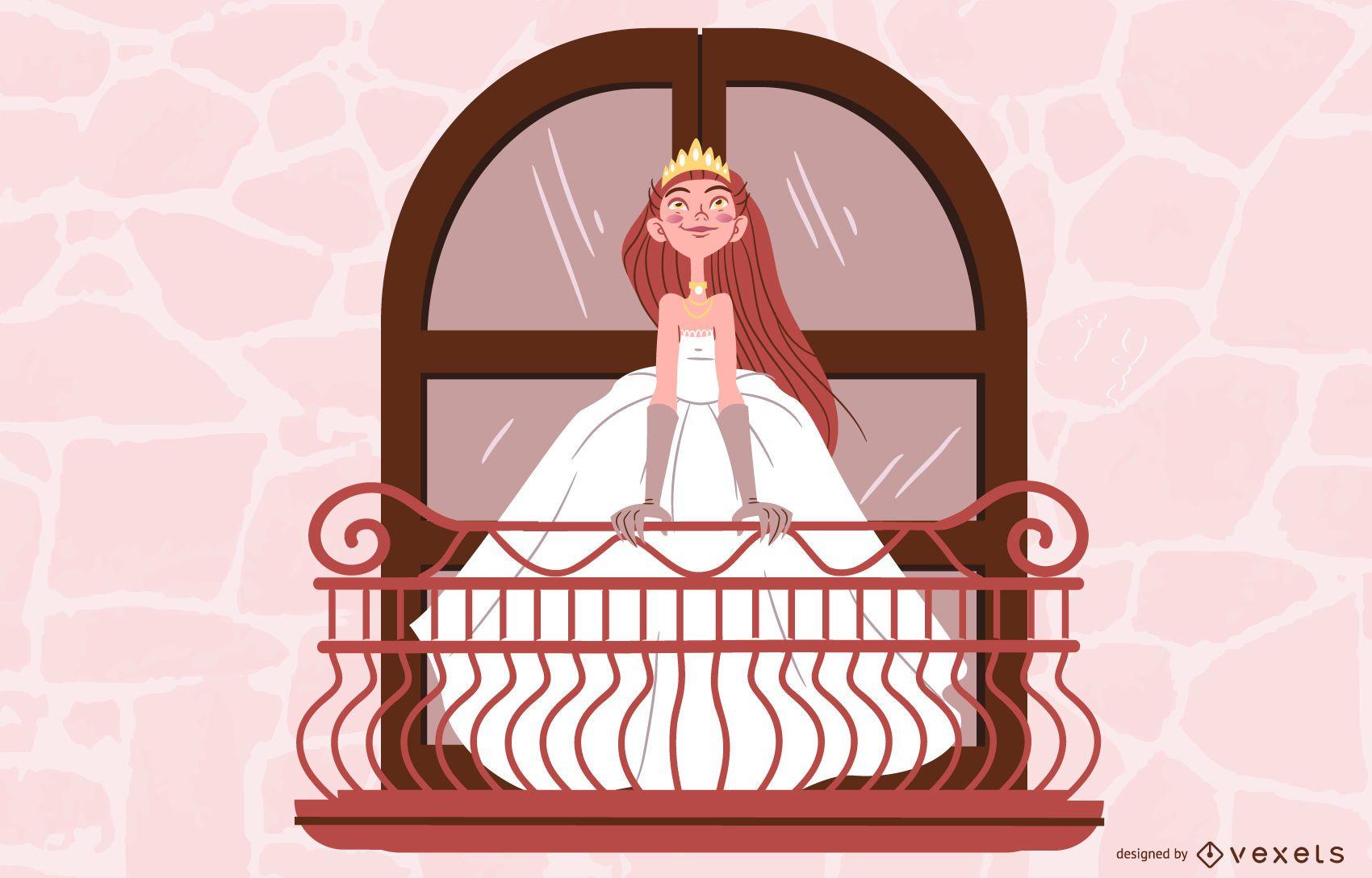 Princess Bride on Balcony Illustration