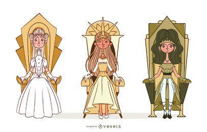 Conjunto de ilustração da princesa
