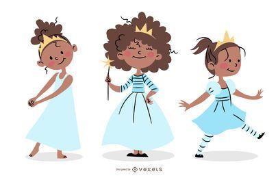 Conjunto de caracteres de princesa