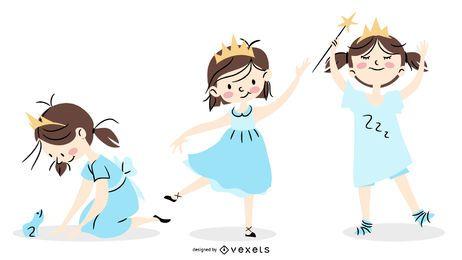 Conjunto de caracteres lindo princesa