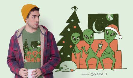 Diseño de camiseta de navidad alienígena