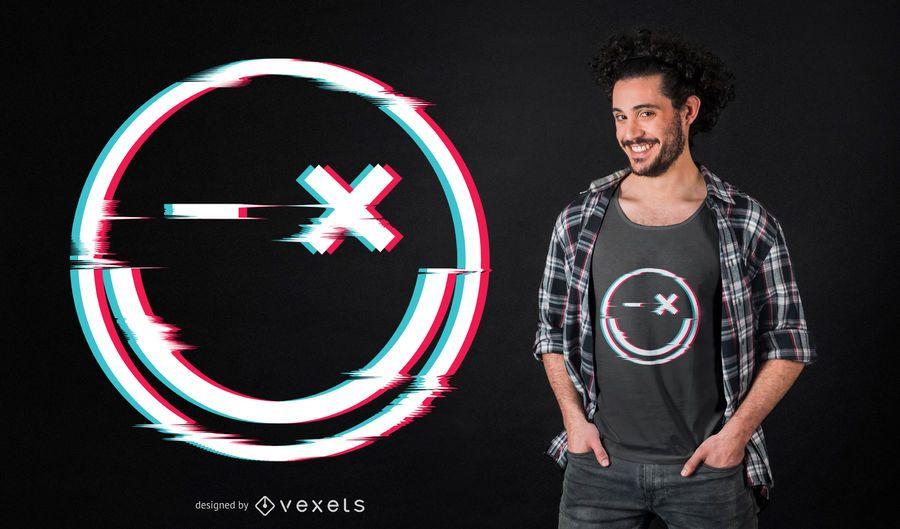 Diseño de camiseta Smile glitch