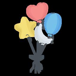 Balão corda estrela coração crescente plana