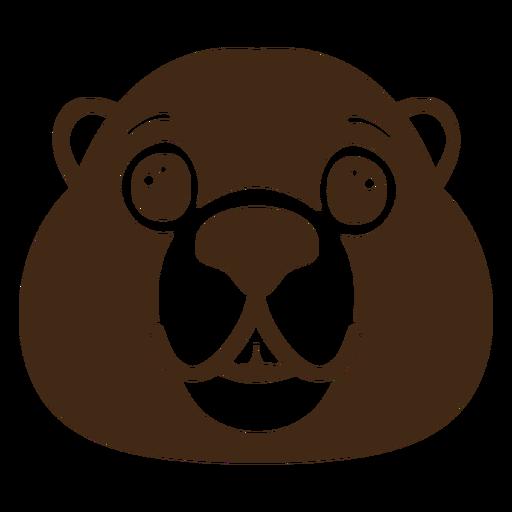 Beaver joyful muzzle head flat Transparent PNG