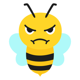 Bee angry muzzle head flat