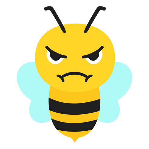 Bee angry muzzle head flat Transparent PNG