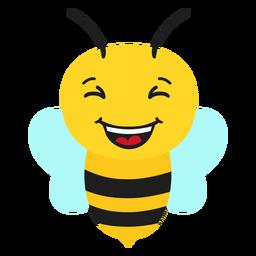 Cabeza de hocico feliz de abeja plana
