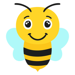 Bee joyful muzzle head flat