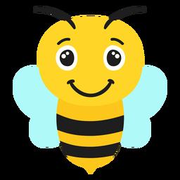 Cabeza de hocico alegre de abeja plana