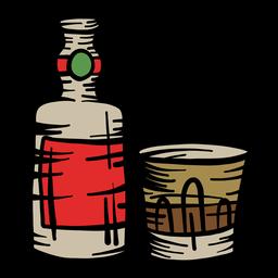 Botella de vidrio plano