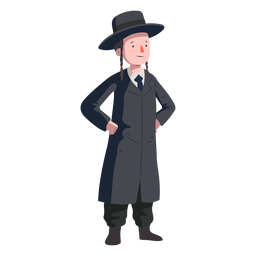 Abrigo judío niño sombrero plano