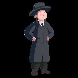 Junge jüdischen Mantel Hut flach