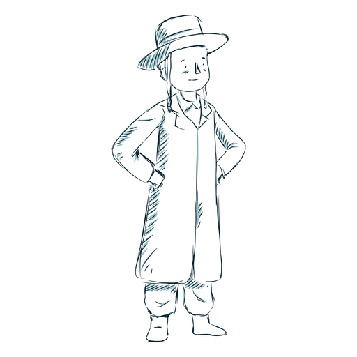 Boy jewish coat hat line Transparent PNG