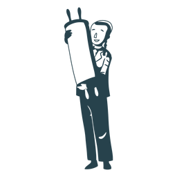 Boy jewish roll scroll detailed silhouette