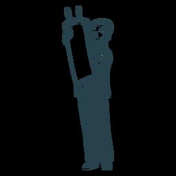 Silhueta detalhada de rolo de rolo judeu menino