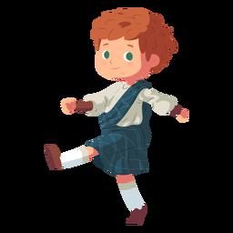 Junge schottischer Kilt flach