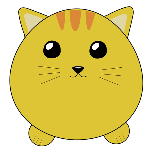Gato lindo hocico hinchado plano Transparent PNG