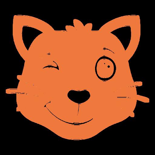 Bozal de cabeza de guiño de gato plano Transparent PNG