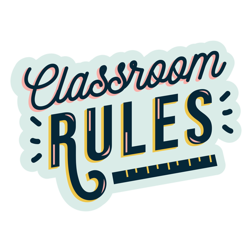 Etiqueta engomada de la insignia de las reglas del aula