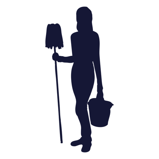 Cleaner bucket mop silhouette Transparent PNG