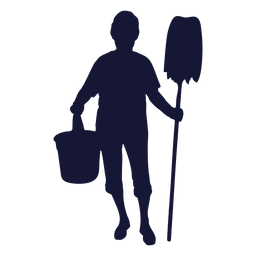 Cleaner mop bucket silhouette