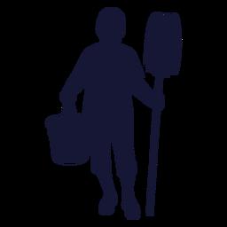 Cleaner mop bucket silhouette