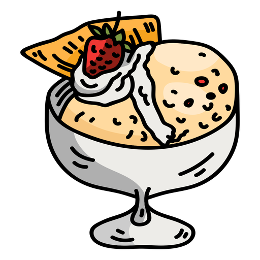 Cup bowl glass ice cream flat Transparent PNG