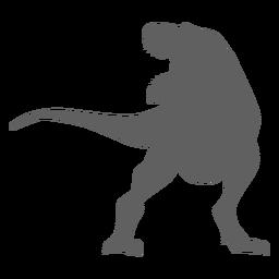 Silhueta de mandíbulas de tiranossauro com cauda de dinossauro