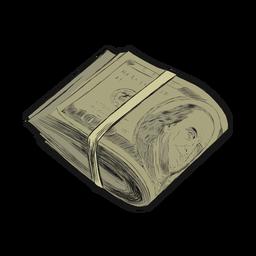 Línea de trazo de manojo de rollo de dólar plana