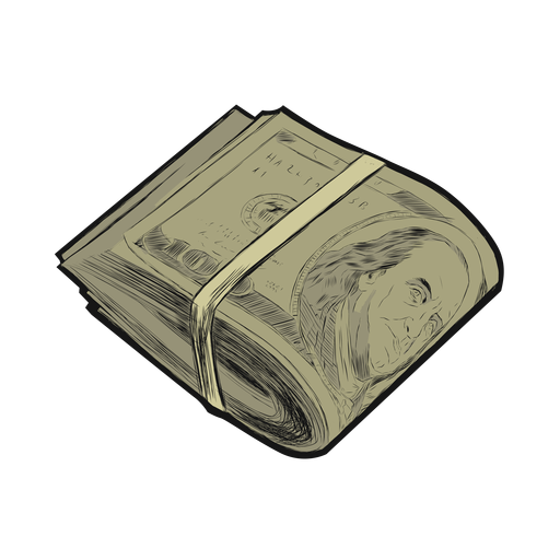 Dollar roll bunch stroke line flat Transparent PNG